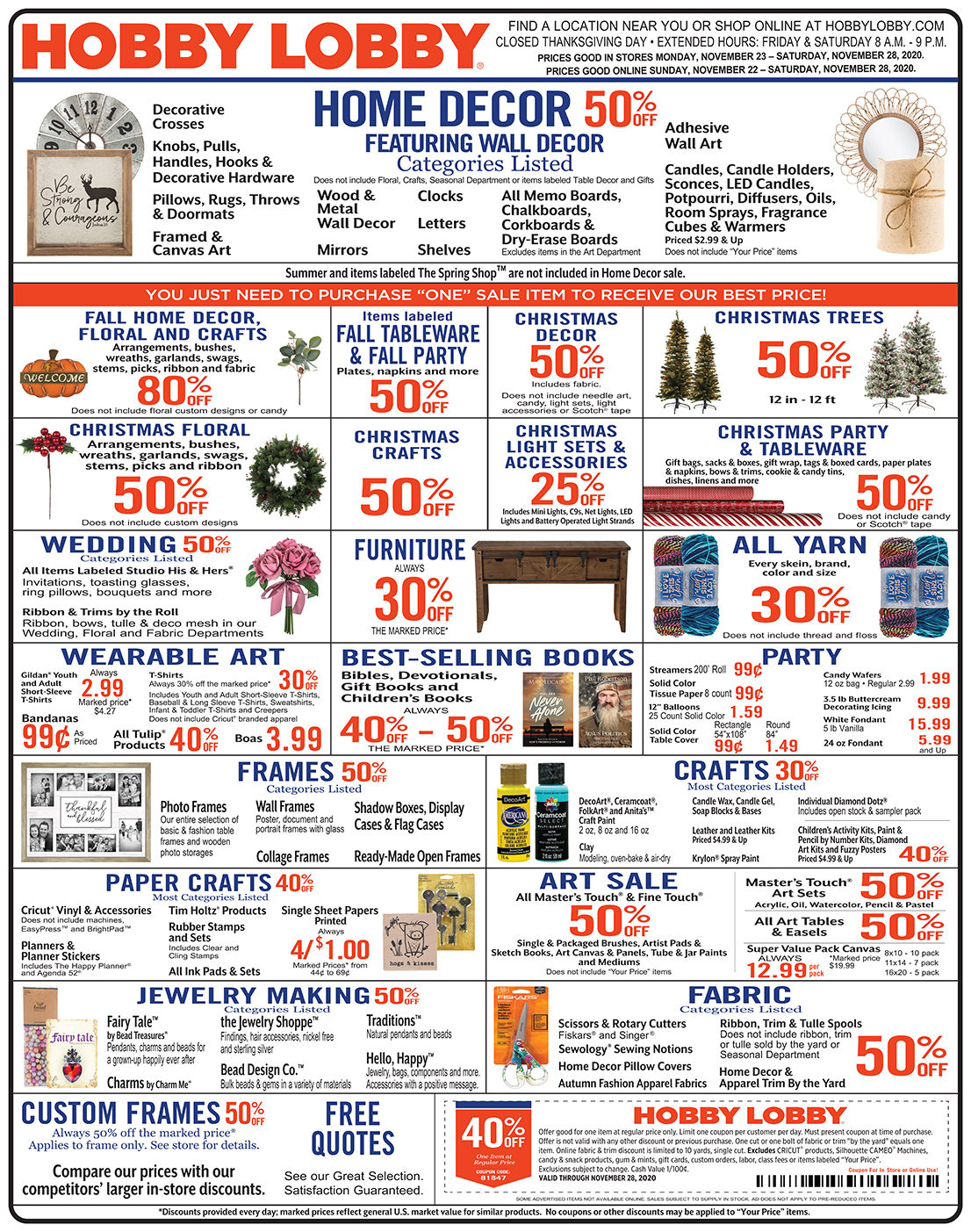 Hobby Lobby Weekly Ad - Prices Good Through November 28th 2020