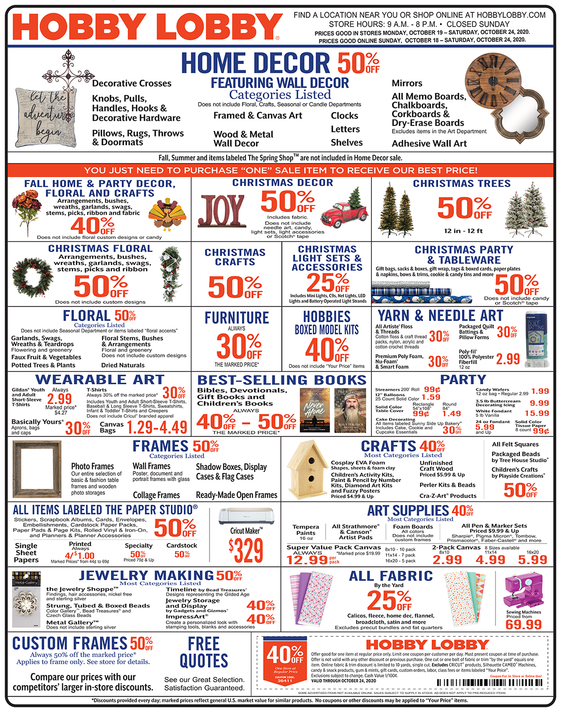 Hobby Lobby Weekly Ad - Prices Good Through October 24th 2020