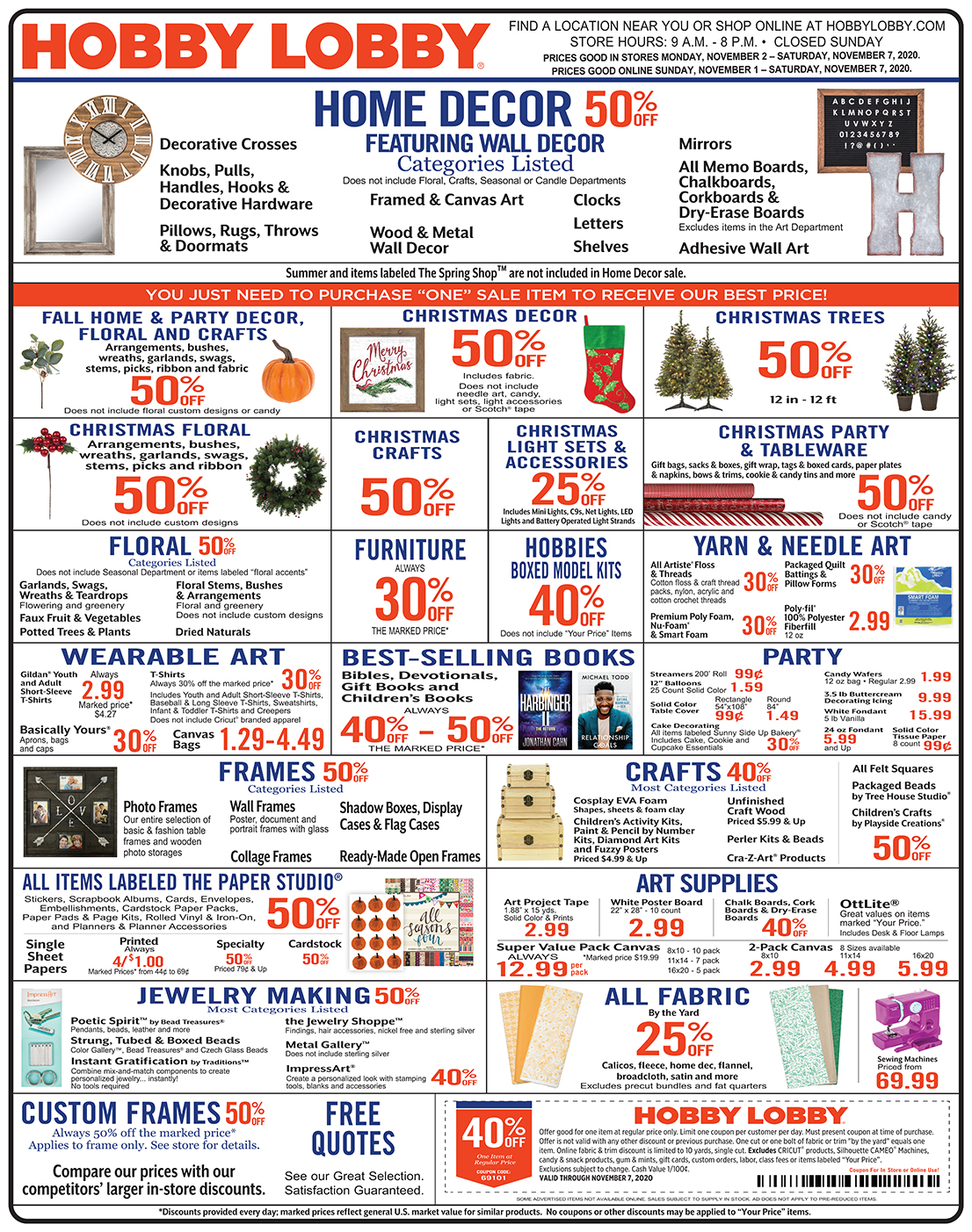 Hobby Lobby Weekly Ad - Prices Good Through November 7th 2020