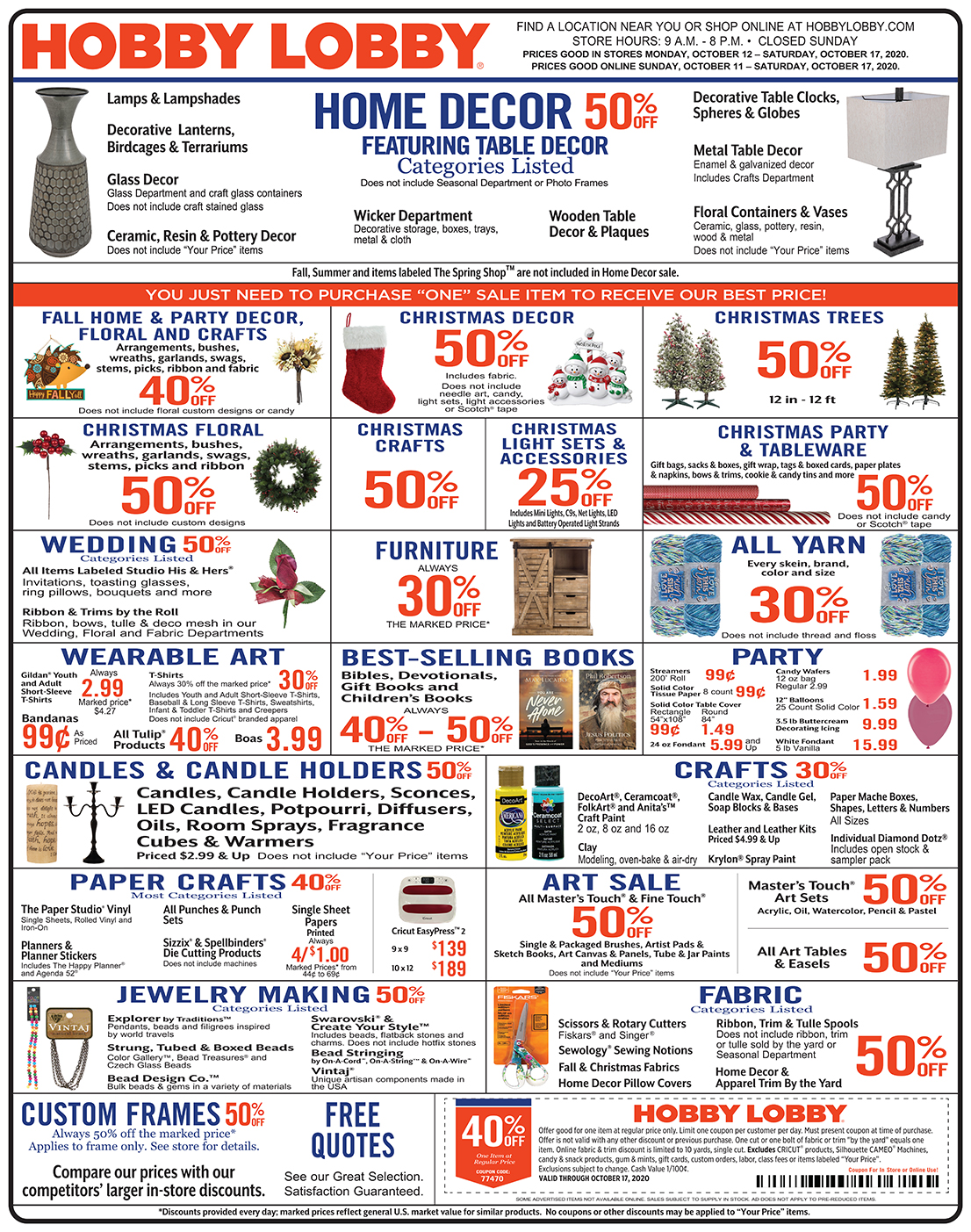 Hobby Lobby Weekly Ad - Prices Good Through October 17th 2020