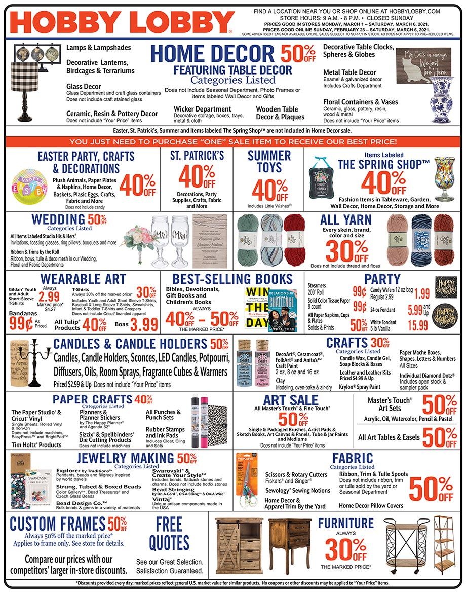 Hobby Lobby Weekly Ad - Prices Good Through March 6th 2021