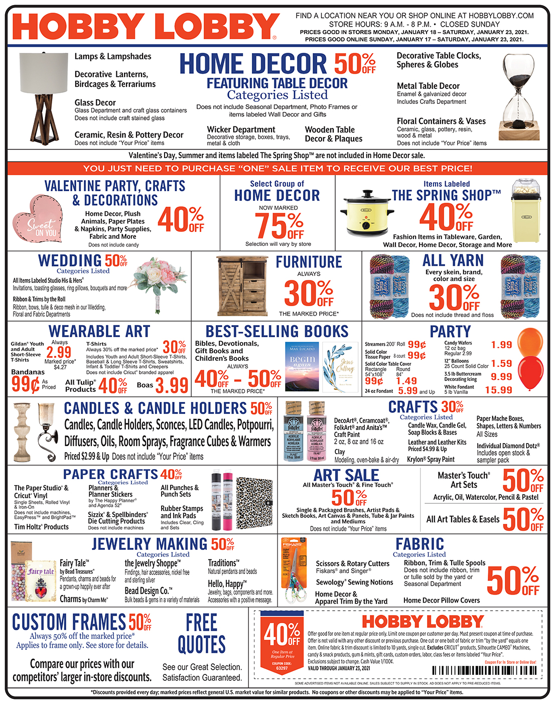 Hobby Lobby Weekly Ad - Prices Good Through January 23rd 2021