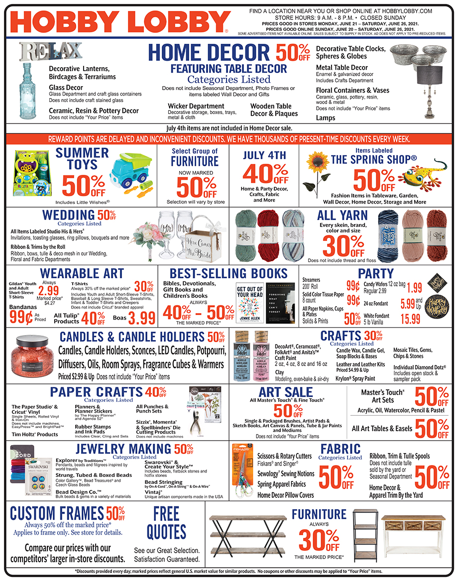 Hobby Lobby Weekly Ad - Prices Good Through June 26th 2021