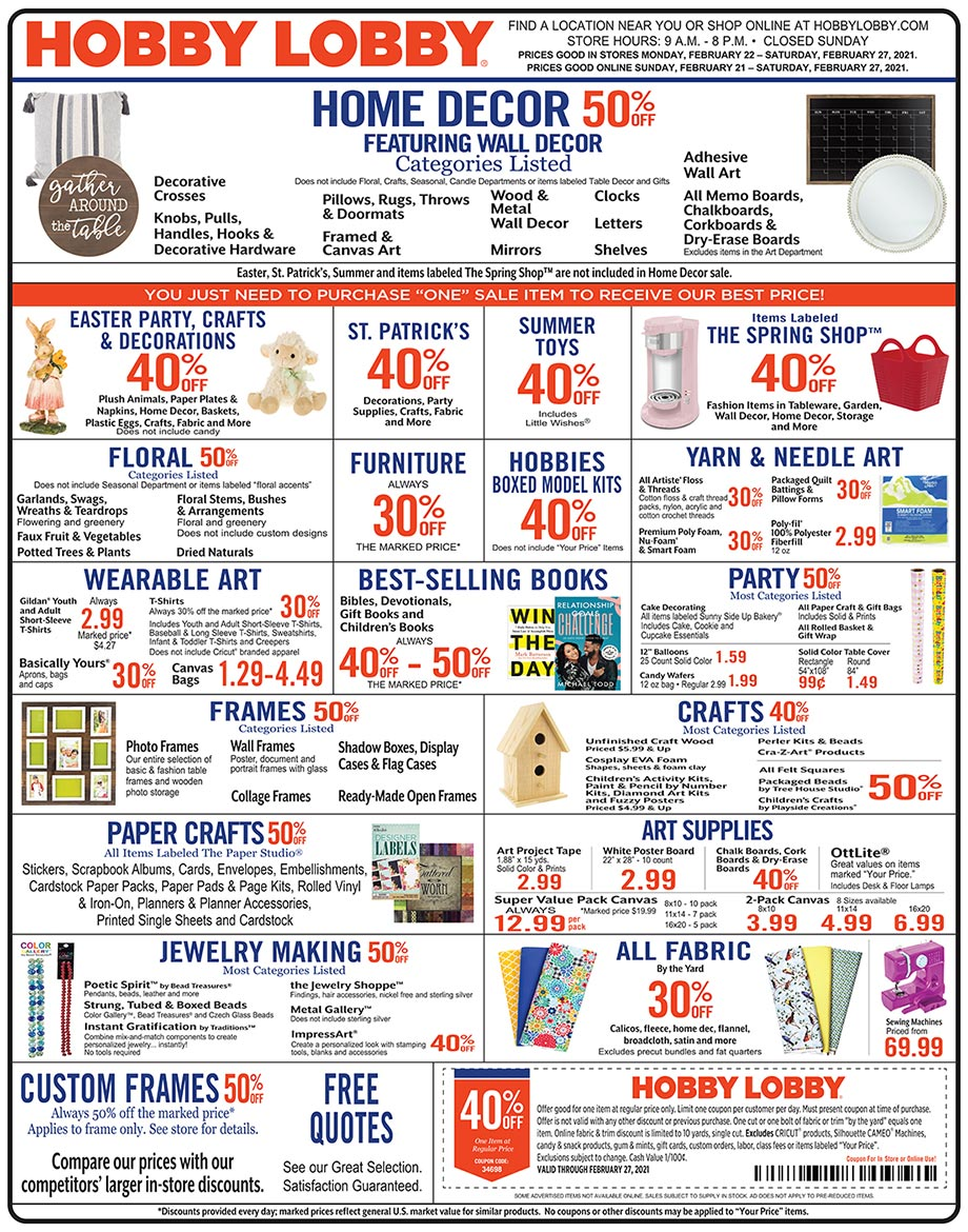 Hobby Lobby Weekly Ad - Prices Good Through February 27th 2021