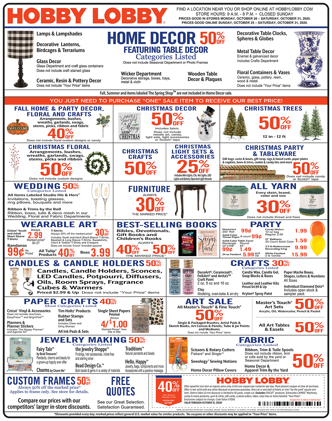 Hobby Lobby Weekly Ad - Prices Good Through October 31st 2020