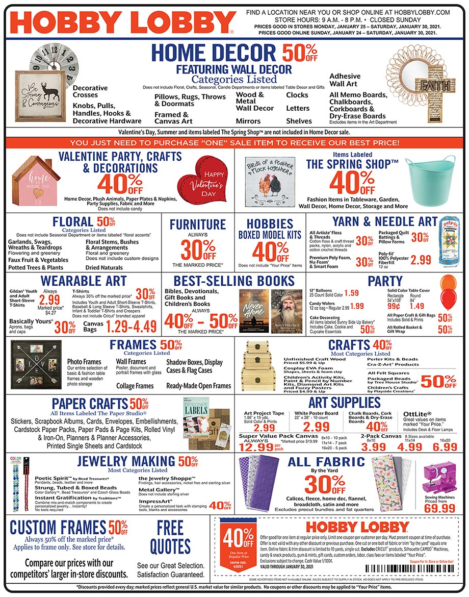 Hobby Lobby Weekly Ad - Prices Good Through January 30th 2021