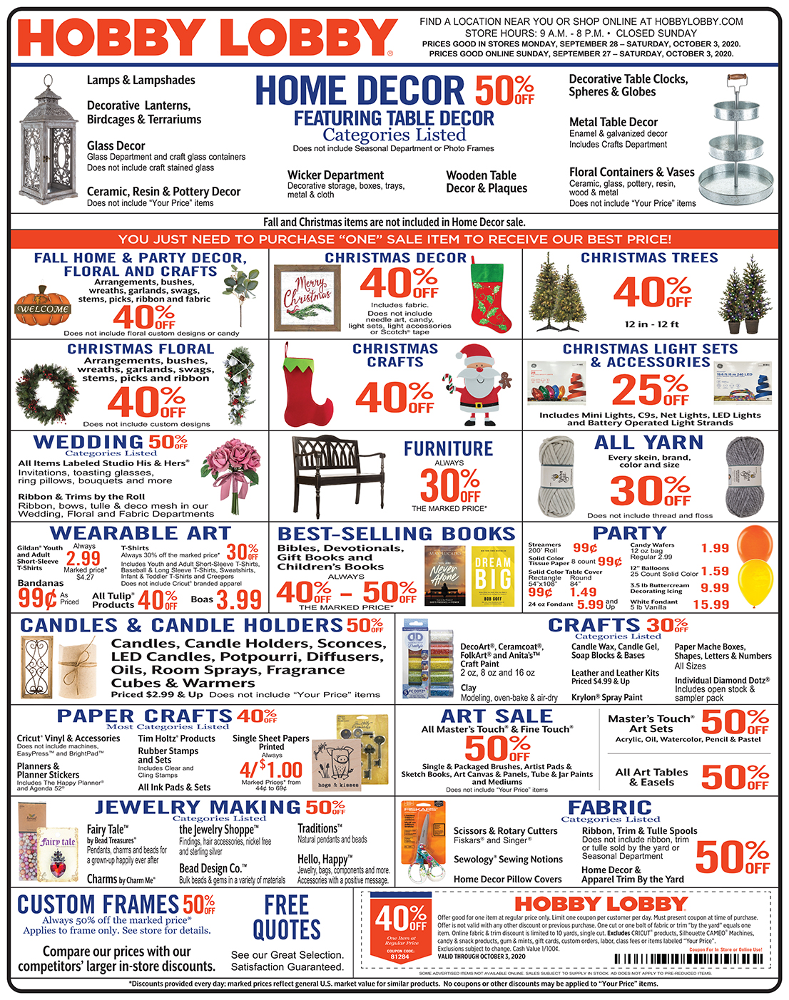 Hobby Lobby Weekly Ad - Prices Good Through October 3rd 2020