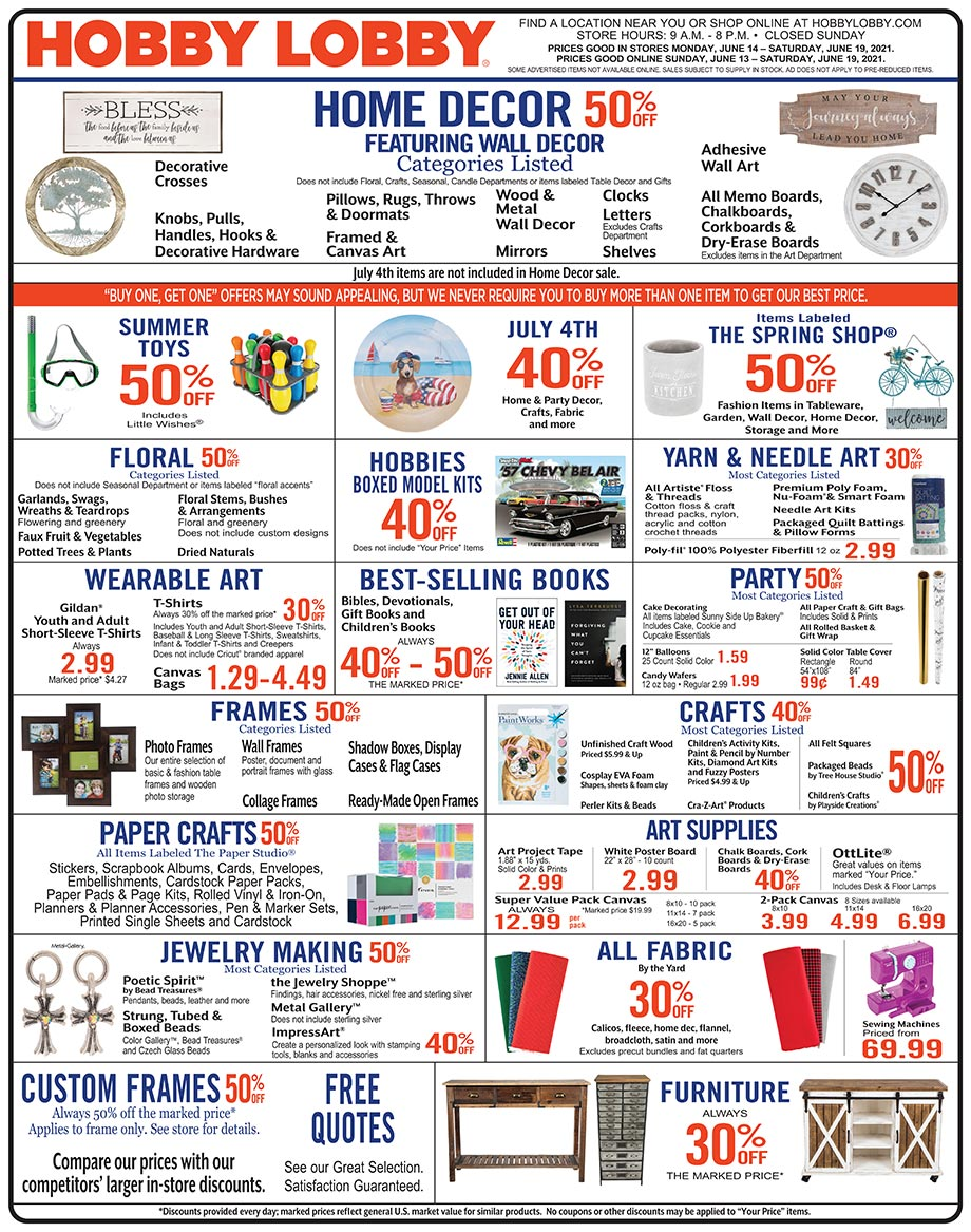 Hobby Lobby Weekly Ad - Prices Good Through June 19th 2021