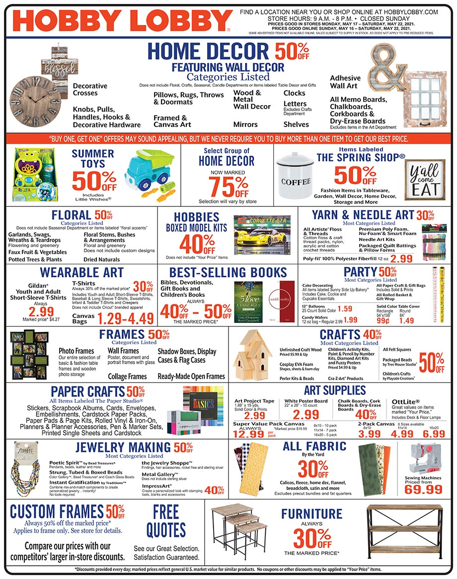 Hobby Lobby Weekly Ad - Prices Good Through May 22nd 2021