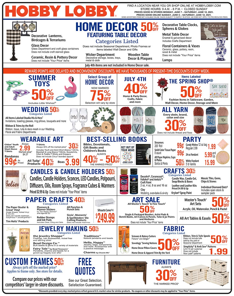 Hobby Lobby Weekly Ad - Prices Good Through June 12th 2021