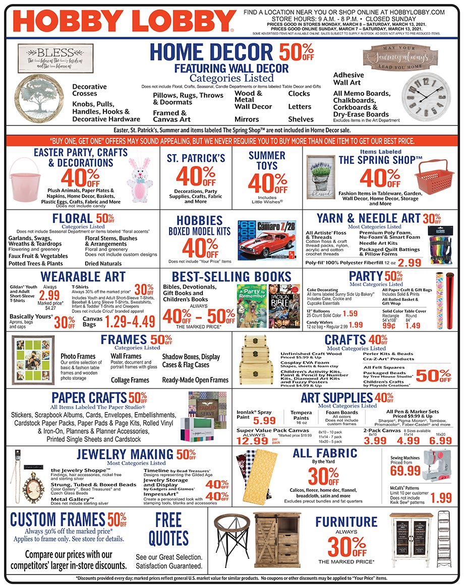 Hobby Lobby Weekly Ad - Prices Good Through March 13th 2021