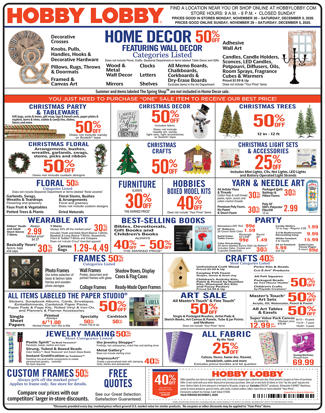 Hobby Lobby Weekly Ad - Prices Good Through December 5th 2020